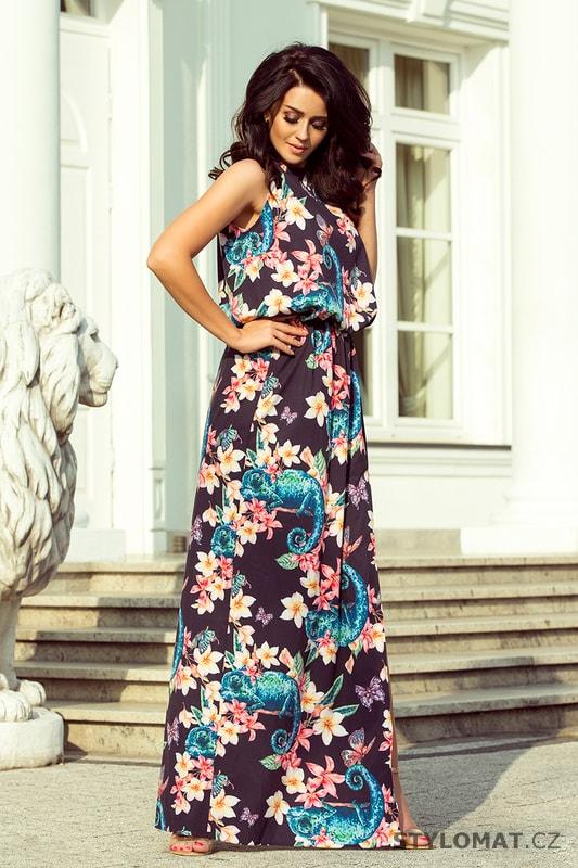 Maxi šaty svázané za krkem s rozparkem chameleoni s květinami - Numoco - Dlouhé  letní šaty 8e631cedf3c