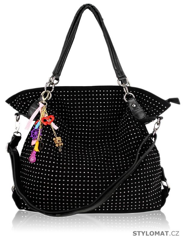 Dámská černá maxi kabelka s kamínky - LS fashion - Dámské kabelky a tašky 84f7fa09b18