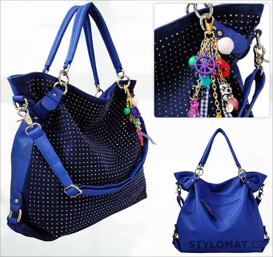 Dámská modrá maxi kabelka s kamínky - LS fashion - Dámské kabelky a tašky 1cc251b09f7