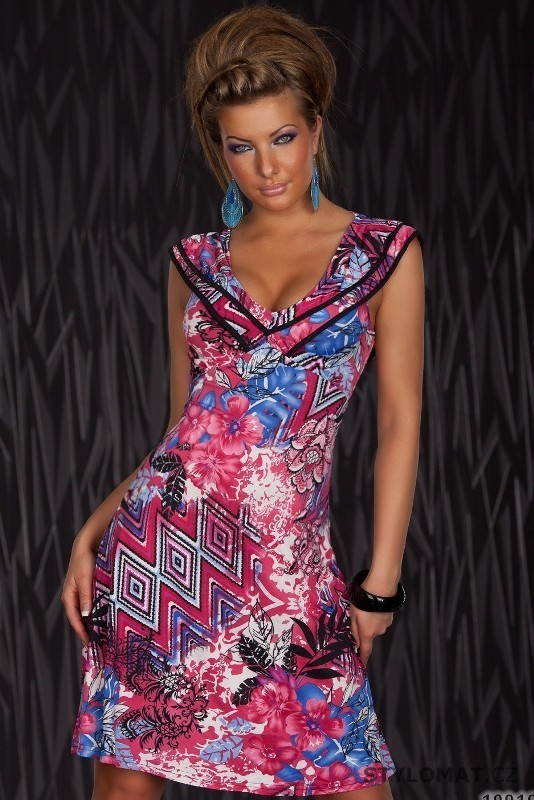 Dámské růžové barevně vzorované šaty s rukávkem - Redial - Krátké letní šaty 5ec0bee04c