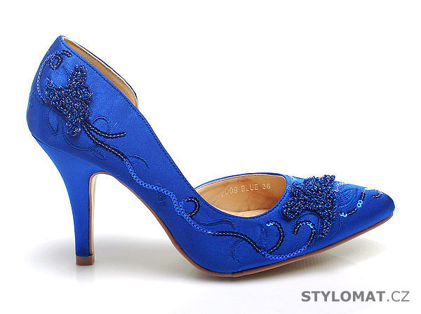 Modré saténové lodičky zdobené výšivkou - SERGIO TODZI - Lodičky 1d94534fab