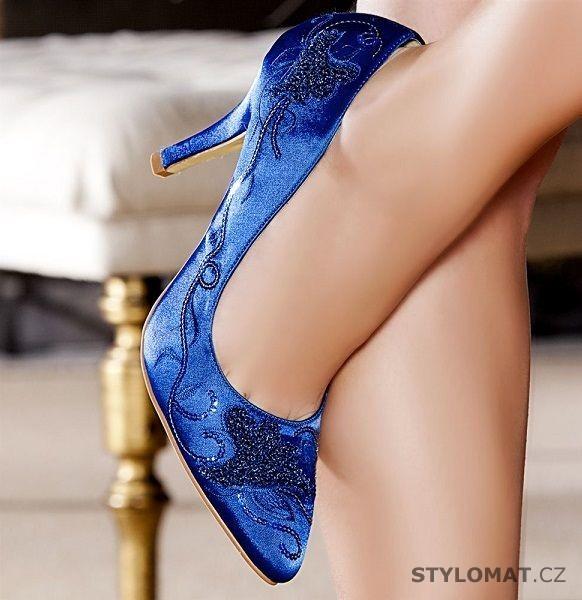915f9128bb4 Modré saténové lodičky zdobené výšivkou - SERGIO TODZI - Lodičky