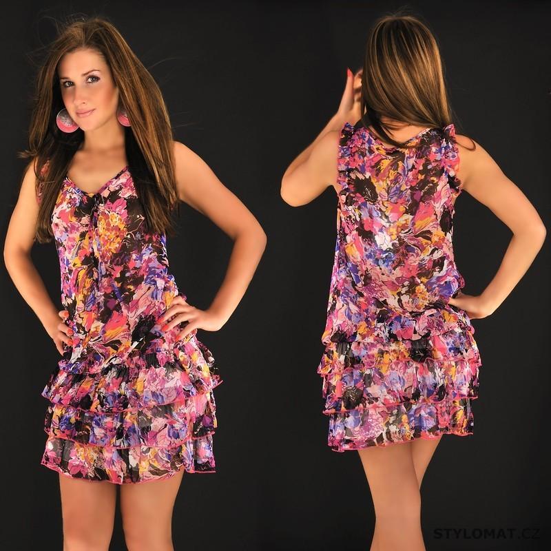 Dámské šifonové růžové květované šaty - Fashion - Krátké letní šaty 0c6b98ec30