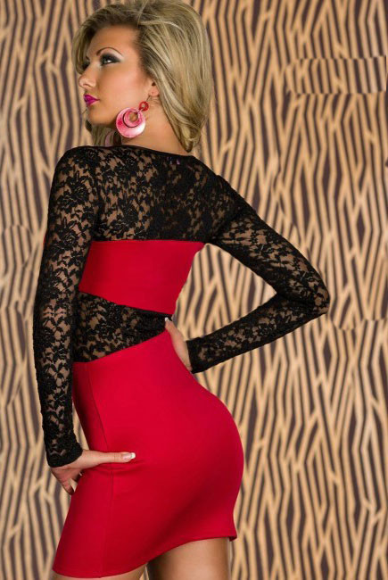 Sexy růžové šaty s krajkou - Damson - Party a koktejlové šaty 770ae470cb
