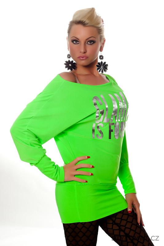 3664ff5f6ab Moderní dámská neonová zelená tunika s potiskem - Redial - Tuniky