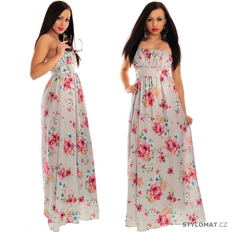 Bílé dlouhé letní šaty s květinovým vzorem - Fashion - Krátké letní šaty 50bf9a989c