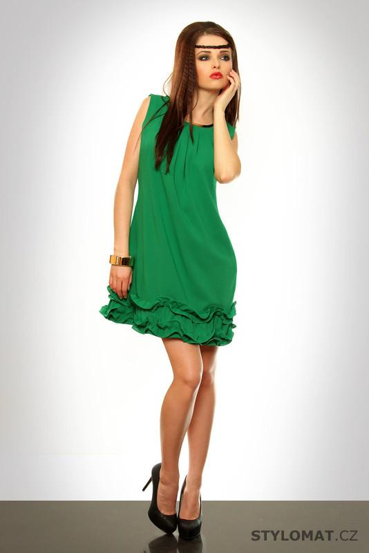 Dámské zelené šaty s volánky - Pink BOOm - Krátké letní šaty 5969b675c6