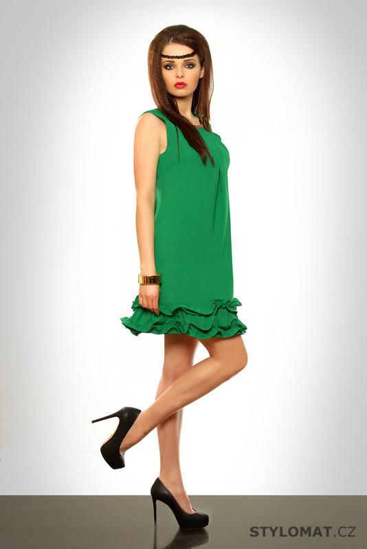 Dámské zelené šaty s volánky - Pink BOOm - Krátké letní šaty 343a20558c