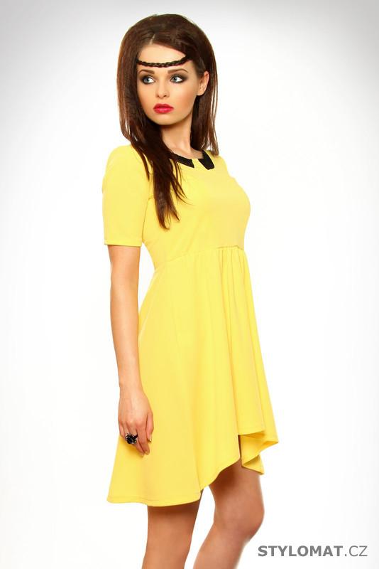 Dámské žluté letní šaty s krajkou - Lily White - Krátké letní šaty 48026b527b