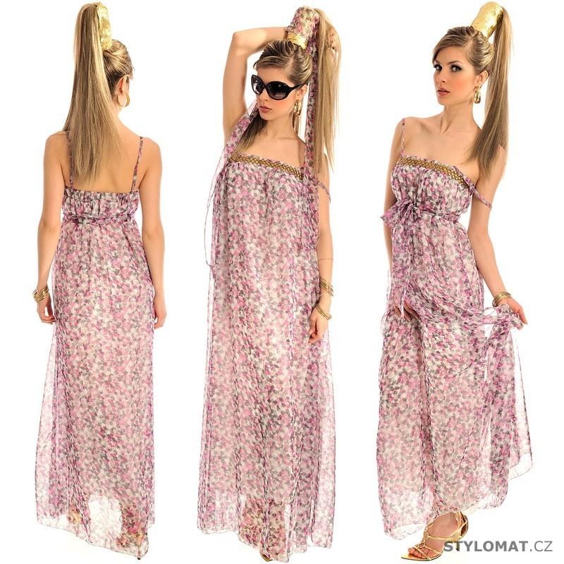 Dámské dlouhé vzorované letní růžové šaty - Fashion - Krátké letní šaty dacfa03a07