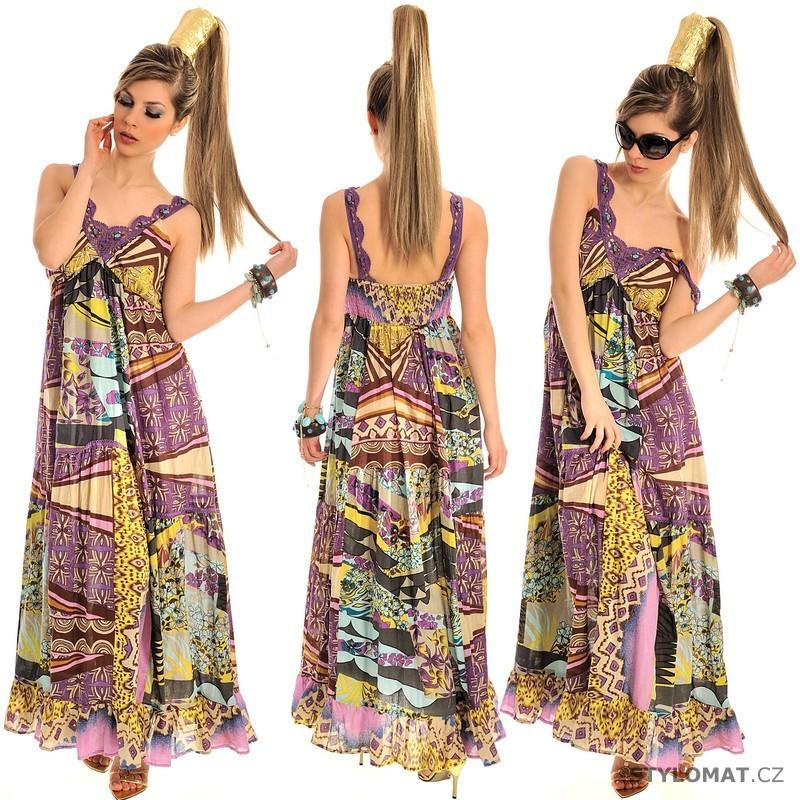 Dámské dlouhé vzorované letní fialkové šaty - Fashion - Krátké letní šaty bd3a0fe02a
