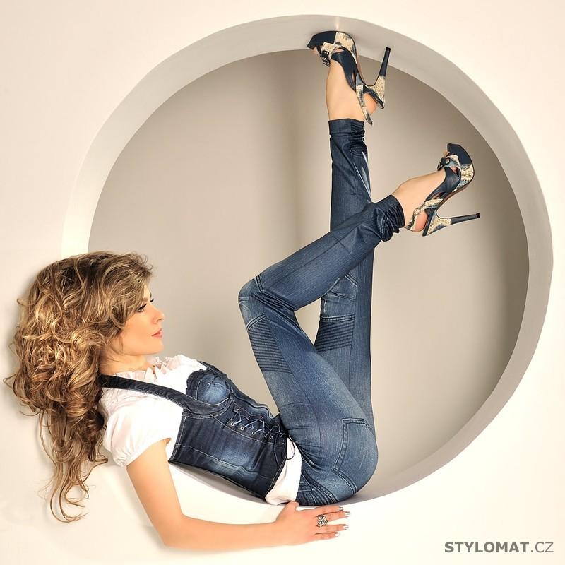 Modré džínové legíny s lemy - Fashion - Legíny dffa687440