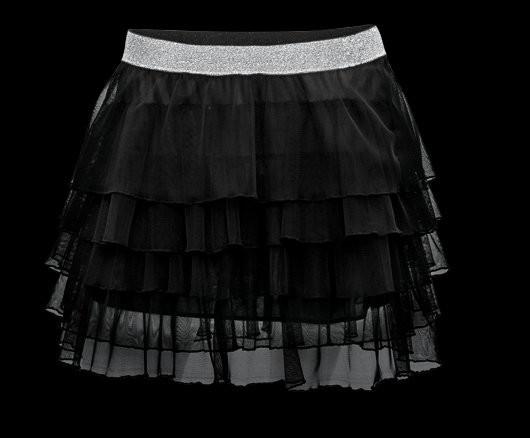aa8ac184afa Módní dámská černo-stříbrná tylová sukně s volánky - Redial - Party a  koktejlové šaty