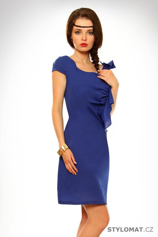 132a162d5f9 Dámské tmavě modré šaty s volánkem - Pink BOOm - Krátké letní šaty