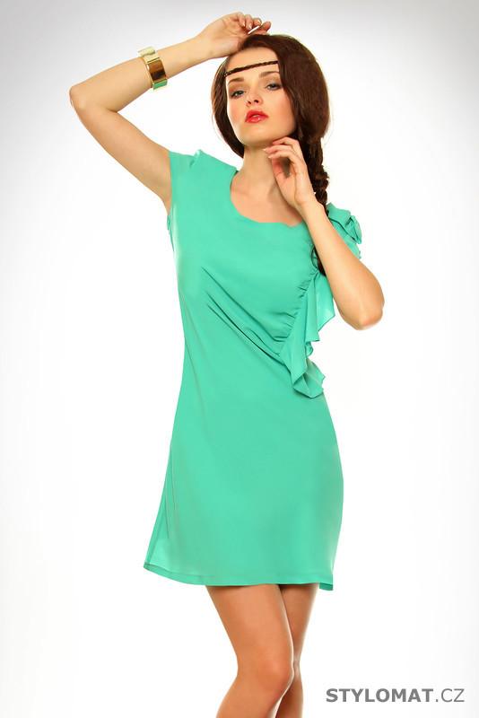 Dámské světle zelené šaty s volánkem - Pink BOOm - Krátké letní šaty 9155cbc9c3