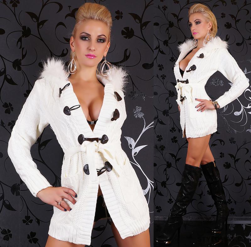 Luxusní dlouhý svetr zateplený s kožíškem a kapucí - Svetry 5b55f108c3