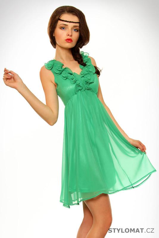 028bc1c90d7 Dámské romantické zelené letní šaty - Pink BOOm - Krátké letní šaty