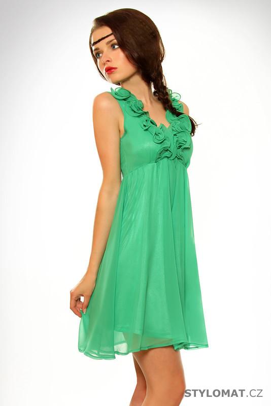 Dámské romantické zelené letní šaty - Pink BOOm - Krátké letní šaty 835431b7aa