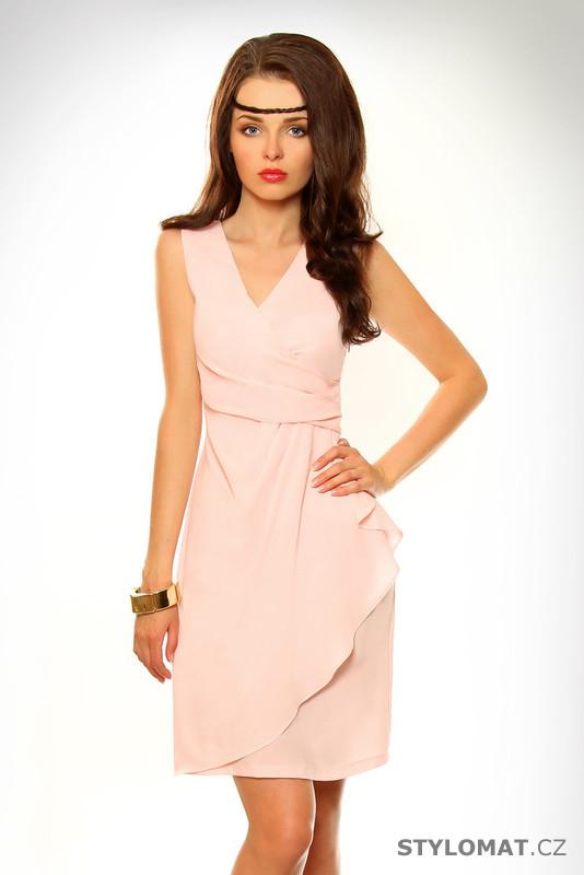 Dámské elegantní světle růžové šaty - Pink BOOm - Krátké letní šaty 2dbc7d7752