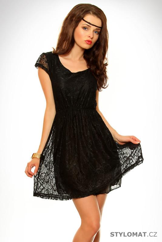f02f3460efa Dámské černé krajkové šaty - Pink BOOm - Krátké letní šaty