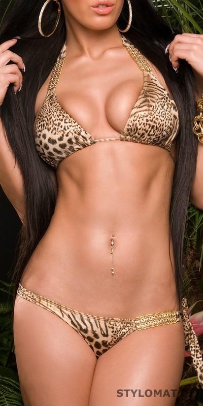 Dámské zlaté leopardí plavky s řetízkem - Redial - Dvoudílné plavky 1bdc56d3d8