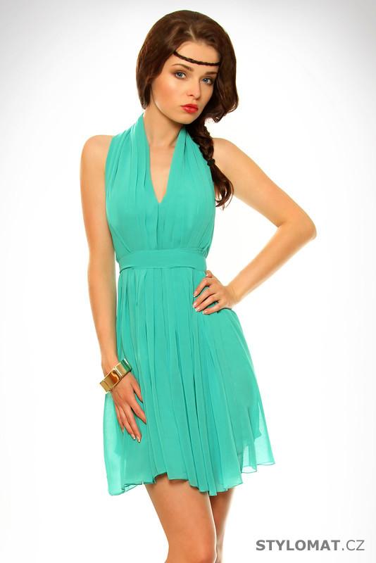 Dámské tyrkysové letní šaty - SHK Mode - Krátké letní šaty 23bf269336a