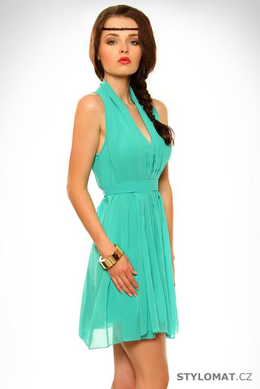 99f3ca43e0f Dámské tyrkysové letní šaty - SHK Mode - Krátké letní šaty