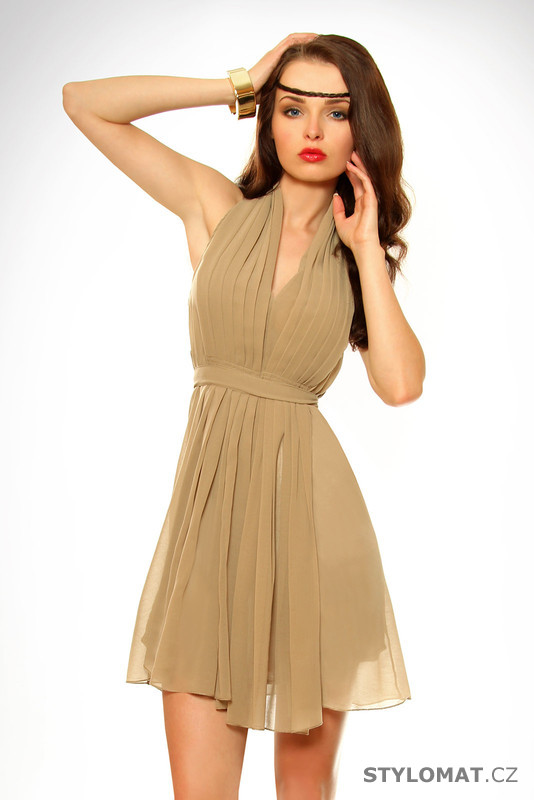 Dámské hnědé letní šaty - SHK Mode - Krátké letní šaty a5108014da