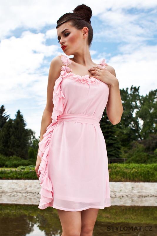 Dámské romantické světle růžové letní šaty - Pink BOOm - Krátké letní šaty 553012b7fe
