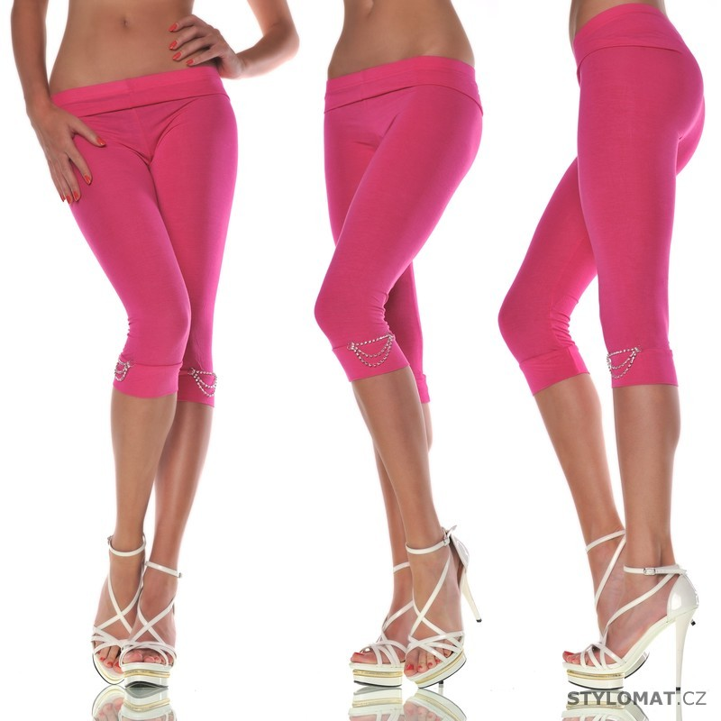Trendy růžové capri legíny - Fashion - Legíny ff890e5d75