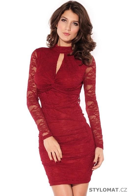 Trendy červené krajkové koktejlky - Damson - Party a koktejlové šaty 2b6b6d567f