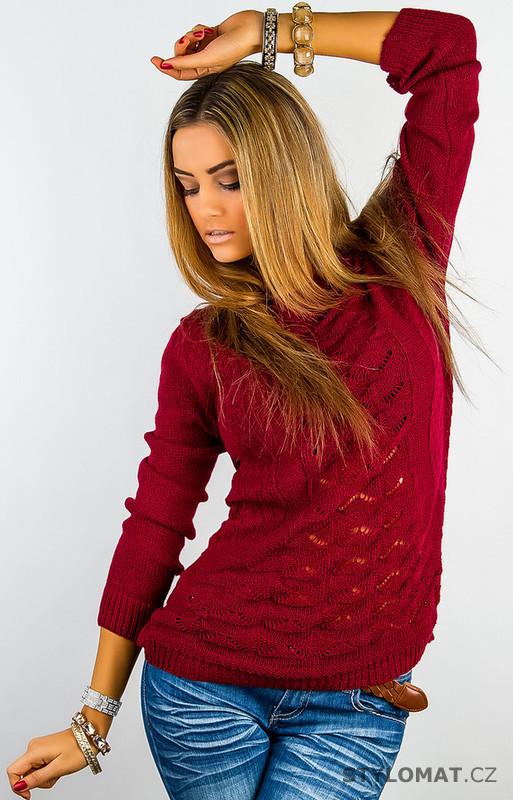 Dámský červený pletený svetr - jiny - Svetry 8227ecbbff