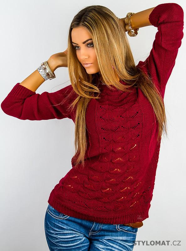 ... Dámský červený pletený svetr. Previous  Next 211e7bbfb2