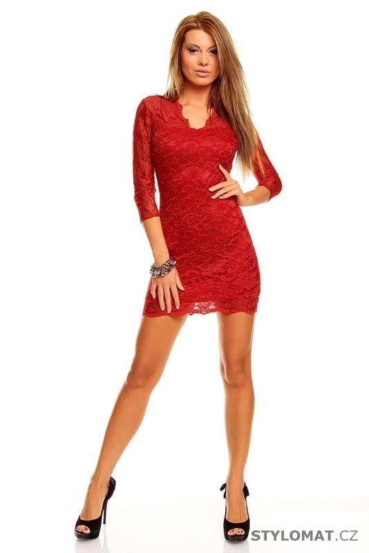 5850a81d01f Červené krajkové večerní šaty - Mayaadi - Party a koktejlové šaty