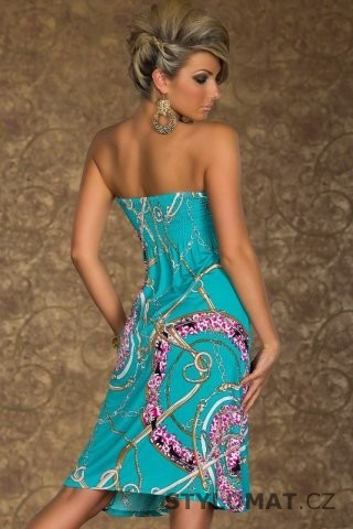 Módní dámské tyrkysové šaty nad prsa s potiskem - Redial - Krátké letní šaty 03c511c0055