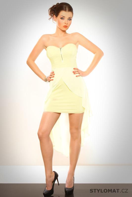 Dámské světle žluté šaty se závojem - Eva Lola - Party a koktejlové šaty 934bdbac91