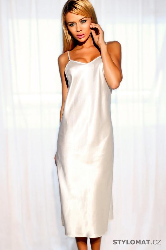 Dlouhá saténová košilka Argentina bílá - Kalimo - Saténové 328e7557d3