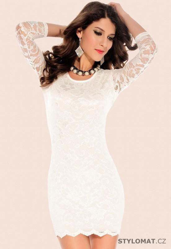 Dámské bílé krajkové šaty - Damson - Party a koktejlové šaty 687f67aa21