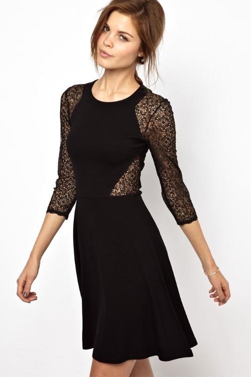 Dámské černé krajkové šaty - Damson - Krátké společenské šaty c8b8b15365