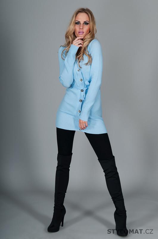 Dámský světle modrý propínací svetr - EU - Kardigany 5251a05c8d