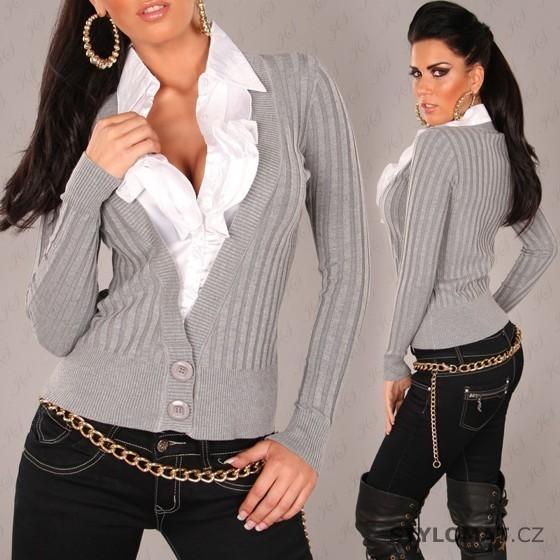 Dámský šedý svetr s bílou volánkovou košilí - Redial - Svetry a68a9e10ed
