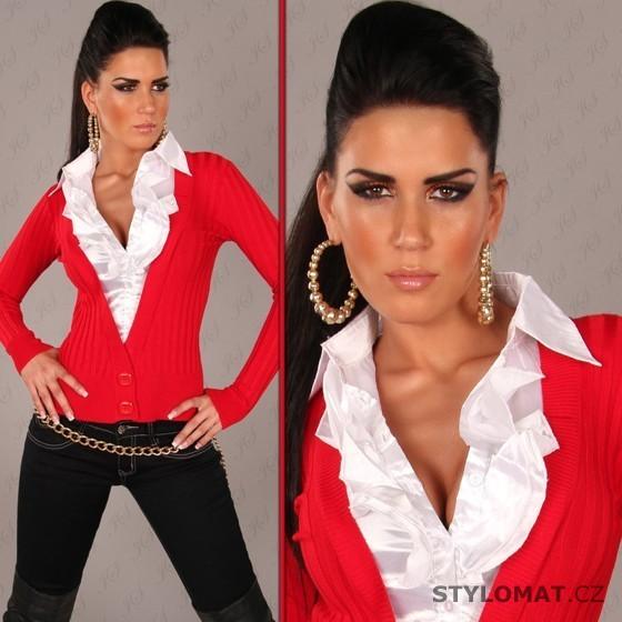 Dámský červený svetr s bílou volánkovou košilí - Redial - Svetry 9a1b6a42bc