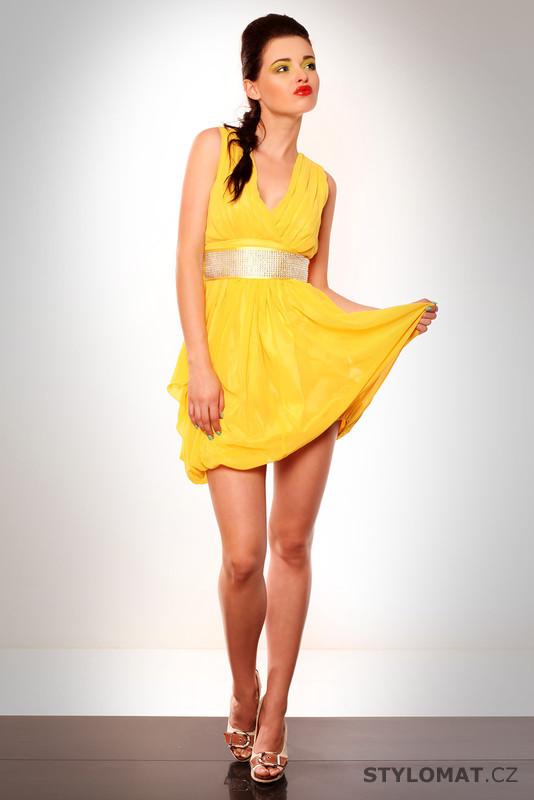 Dámské éterické žluté letní šaty - Eva Lola - Krátké letní šaty 6af82bee0f
