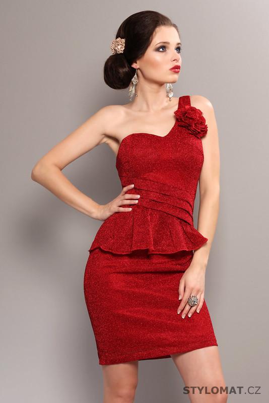 b612ba665e9 Dámské elegantní červené peplum šaty - Pink BOOm - Party a koktejlové šaty