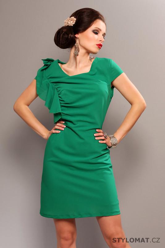 Elegantní zelené šaty s volánkem - Pink BOOm - Party a koktejlové šaty 52f2e556ea