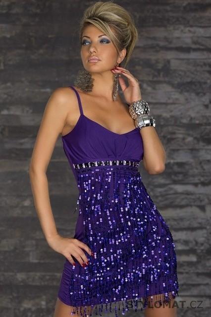 Elegantní fialové minišaty s flitrovými třásněmi - Redial - Party a  koktejlové šaty fd43f968df0