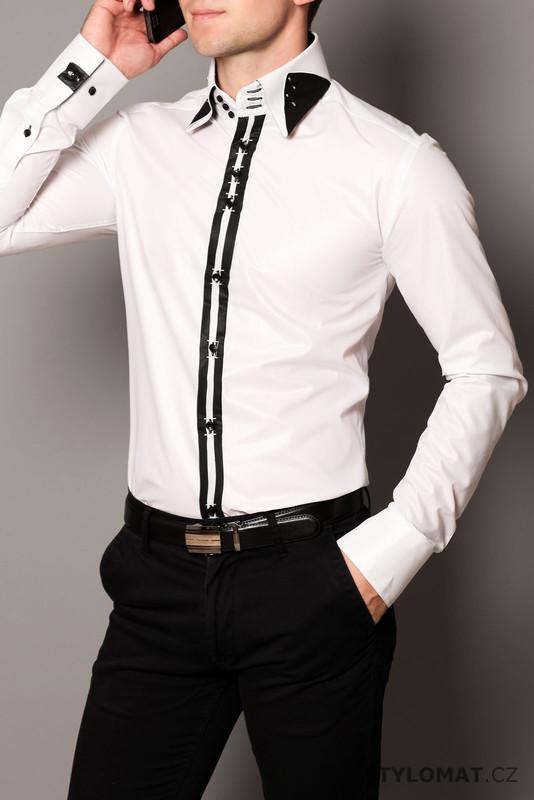 c147f0be0bc Pánská bílá elegantní košile - Puzzle men - Košile