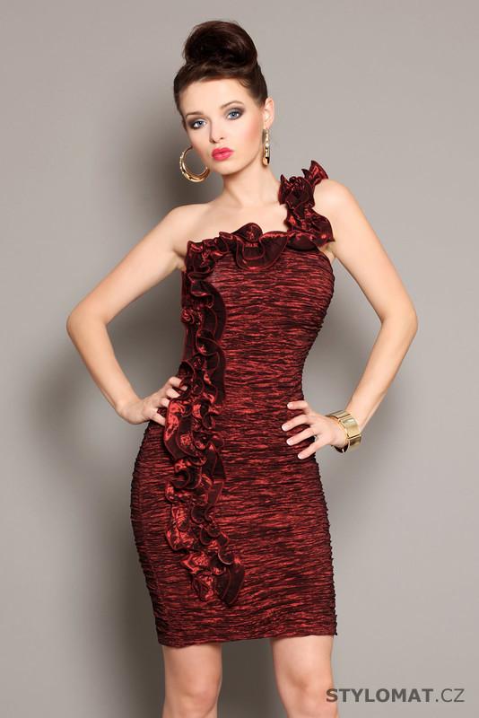 fcd3a1fa242 Elegantní dámské bordo koktejlové šaty s volánkem - Pink BOOm - Party a koktejlové  šaty