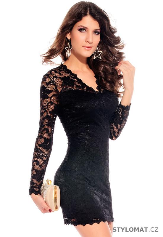 6a2ae6beb264 Černé krátké krajkové šaty - Damson - Krátké společenské šaty