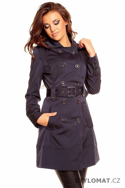 Dámský tmavě modrý trenčkot s límcem a páskem - Redial - Kabáty a kabátky 9f2d0f710f